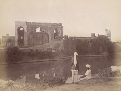 View across the moat towards the Gagan Mahal and the Sat Manzili, Bijapur.